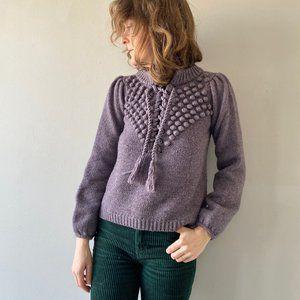 Moda International Popcorn Laceup Sweater XS Small